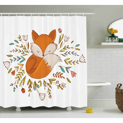 Jefferson Cute Baby Fox Flowers Shower Curtain Size: 69 W x 75 L