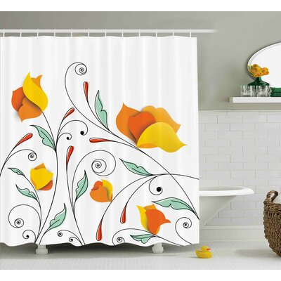 Fawn Swirled Romantic Branch Shower Curtain Size: 69 W x 84 L