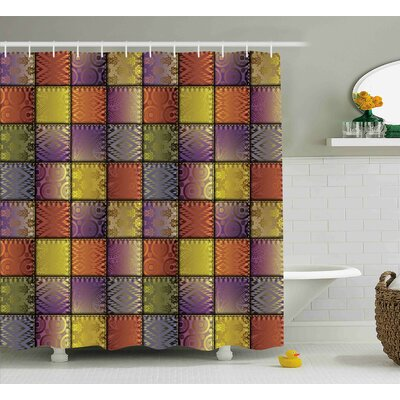 Meadow Digital Mix Motif Shapes Shower Curtain Size: 69 W x 70 L