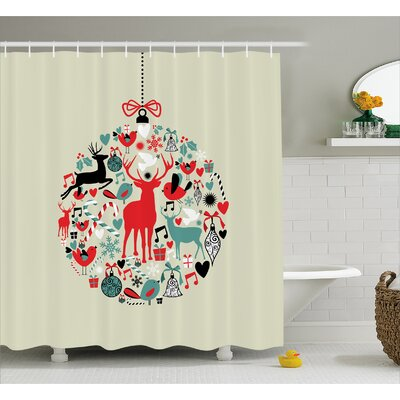 Christmas Decorative Ball Shower Curtain Size: 69 W x 75 L