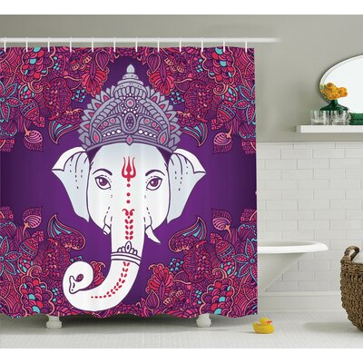 Delmer Elephant Goddess Floral Shower Curtain Size: 69 W x 84 L