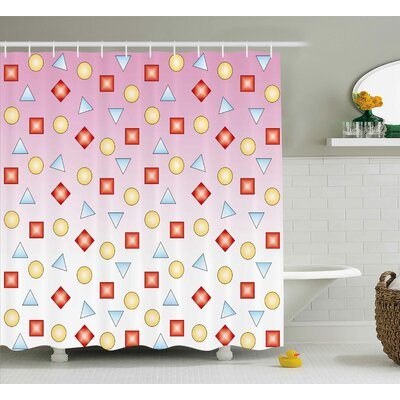 Louisa Abstract Geometric Form Shower Curtain Size: 69 W x 70 L