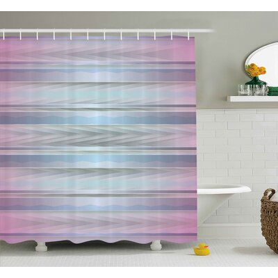 Alize Zig Zag Hazy Figures Shower Curtain Size: 69 W x 84 L