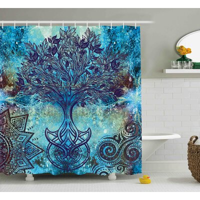 Grunge Ethnic Mandala Trees Shower Curtain Size: 69 W x 75 L