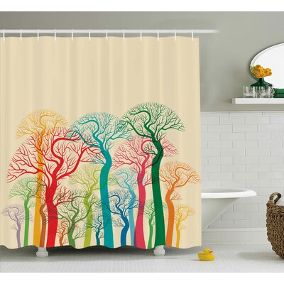 Garrett Colorful Abstract Trees Shower Curtain Size: 69 W x 84 L