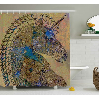 Beal Indian Mandala Pastel Shower Curtain Size: 69 W x 84 L