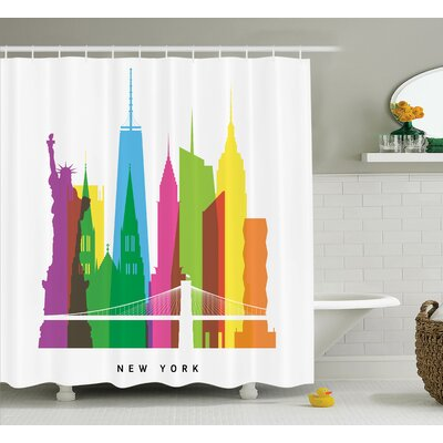 Albert New York Landmarks Shower Curtain Size: 69 W x 75 L