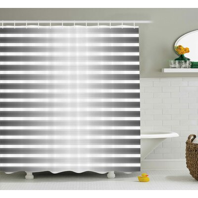 Bane Robot Paint Stripes Shower Curtain Size: 69 W x 84 L