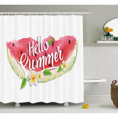 Watercolor Summer Welcome Quote Shower Curtain Size: 69 W x 75 L