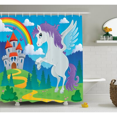 Luther Unicorn with Rainbow Fairy Shower Curtain Size: 69 W x 70 L