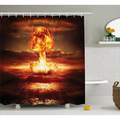 Fabric Nuclear Bomb Explosion Shower Curtain Size: 69 W x 84 L