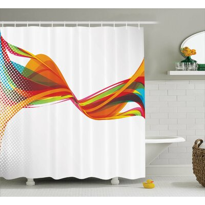 Pixel Details Rainbow Shower Curtain Size: 69 W x 70 L
