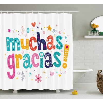 Marco Spanish Thanks Quote Shower Curtain Size: 69 W x 84 L