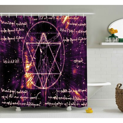 Sacred Spiritual Vitruvian Man Shower Curtain Size: 69 W x 84 L