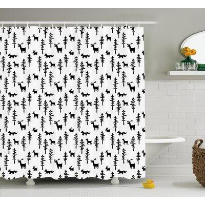 Brooks Pine Trees Rabbit Animal Shower Curtain Size: 69 W x 70 L