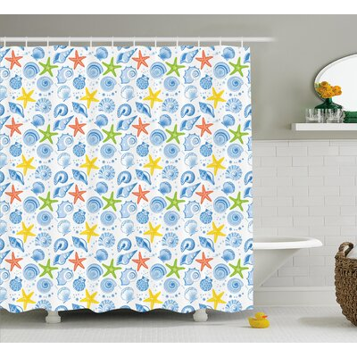 Farnham Marine Themed Starfish Shower Curtain Size: 69 W x 70 L