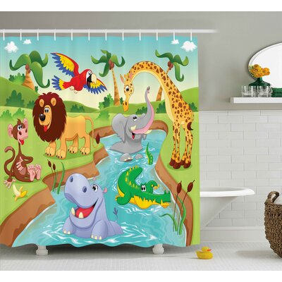 Luther Safari African Animals Shower Curtain Size: 69 W x 75 L