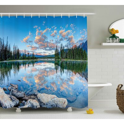 Nature Golden Sunrise Scenery Shower Curtain Size: 69 W x 84 L