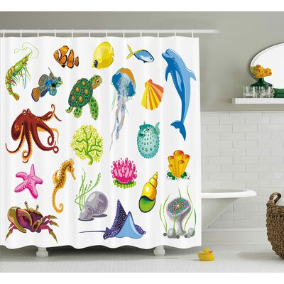Magdalena Sea Animals Octopus Fish Shower Curtain Size: 69 W x 75 L