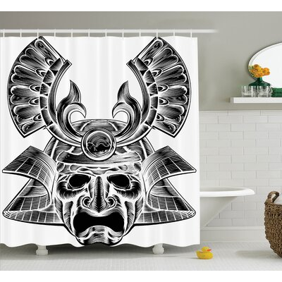 Japanese Vintage Soldier Mask Shower Curtain Size: 69 W x 75 L