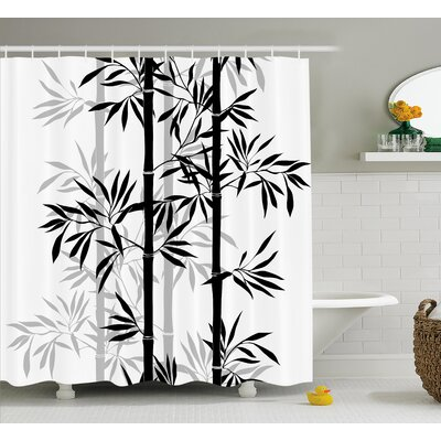 Basil Bamboo Tree Leaves Zen Shower Curtain Size: 69 W x 84 L