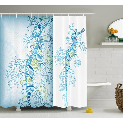Arabella Ocean Animals Seahorse Shower Curtain Size: 69 W x 84 L