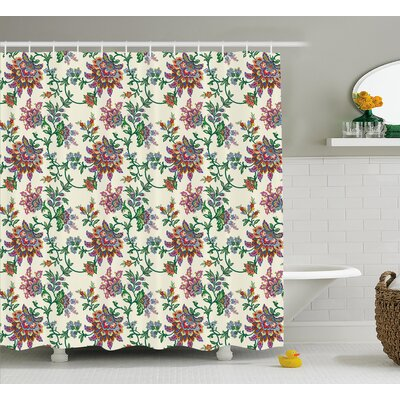 Burnes Retro Indian Flowers Shower Curtain Size: 69 W x 84 L