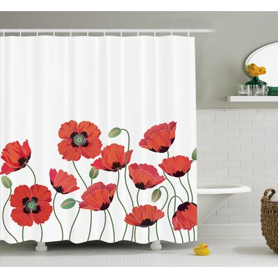 Natural Poppy Garden Shower Curtain Size: 69 W x 84 L