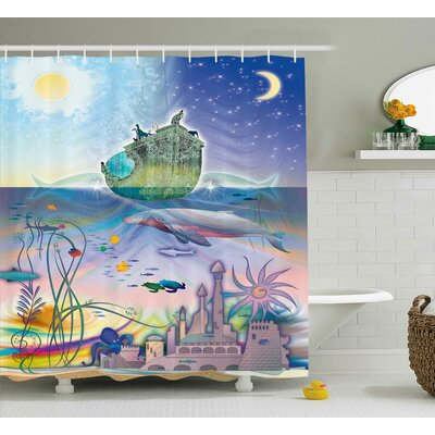 Ocean Pirate Ship Coral Reefs Shower Curtain Size: 69 W x 75 L