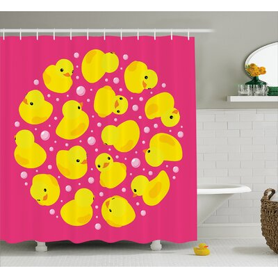 Stephen Duck Bubbles Hot Pink Shower Curtain Size: 69 W x 70 L