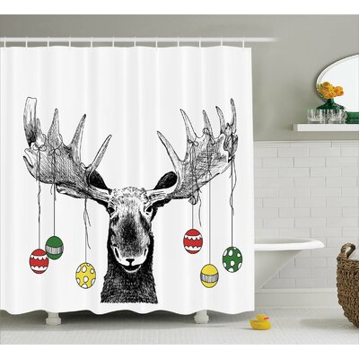Christmas Sketchy Noel Ornament Shower Curtain Size: 69 W x 70 L