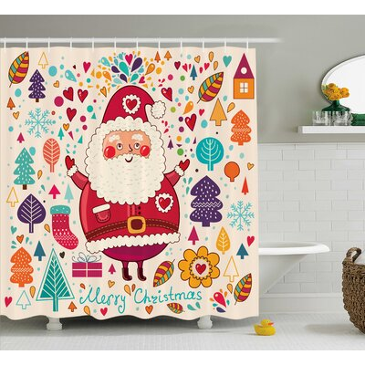 Makenzie Vintage Santa Artsy Shower Curtain Size: 69 W x 84 L