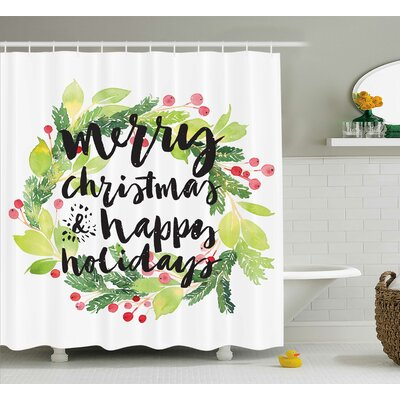 Bilger Wreath Red Berries Shower Curtain Size: 69 W x 84 L