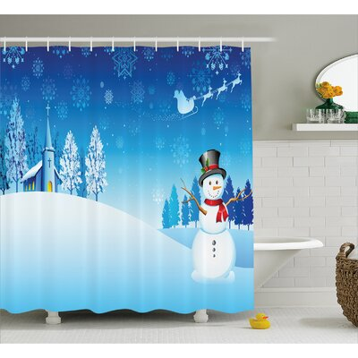 Christmas Snowman Church Stars Shower Curtain Size: 69 W x 75 L