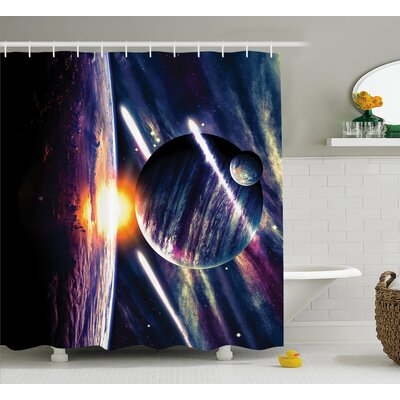 Planet Earth Stardust Shower Curtain Size: 69 W x 84 L