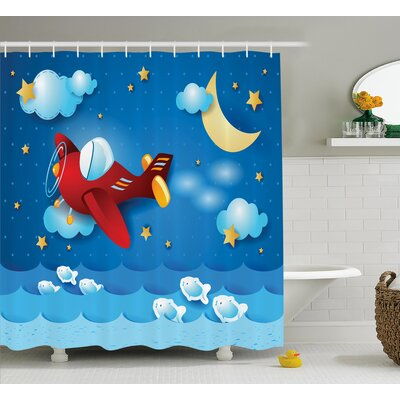 Maricela The Moon and the Stars Shower Curtain Size: 69 W x 75 L