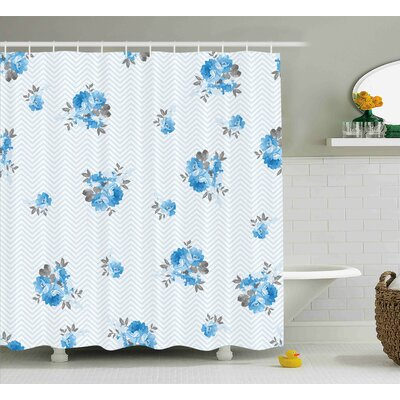 Burnes Blue Romantic Flower Decor Print Shower Curtain Size: 69 W x 84 L