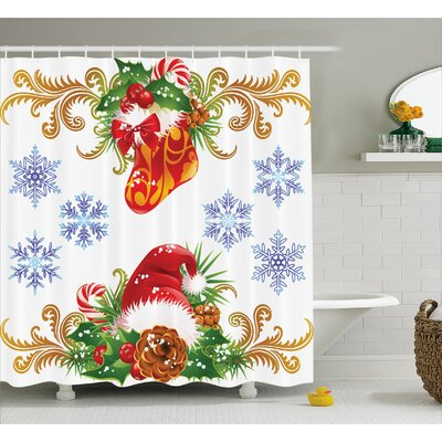 Christmas Stocking Santa Hat Shower Curtain Size: 69 W x 75 L
