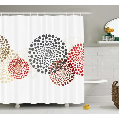 Agawam Circled Modern Dots Shower Curtain Size: 69 W x 75 L