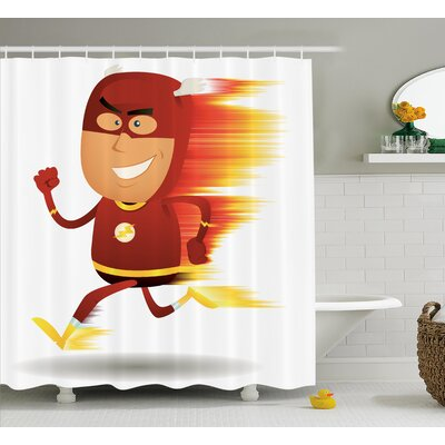 Superhero Bolt Man with Lghts Shower Curtain Size: 69 W x 75 L