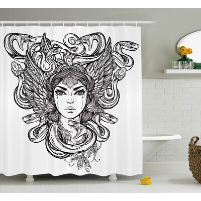 Fabric Sketch Tribal Mythical Shower Curtain Size: 69 W x 70 L