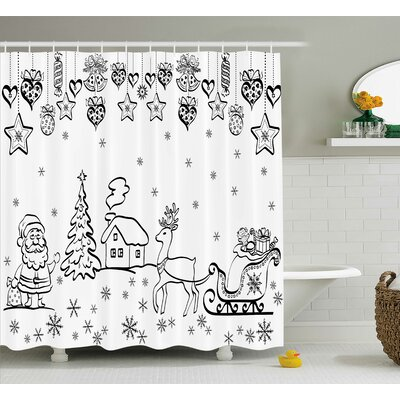 Coleridge Tree Reindeer Santa Shower Curtain Size: 69 W x 84 L