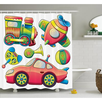 Luther Balls Auto Tire Cartoon Shower Curtain Size: 69 W x 84 L
