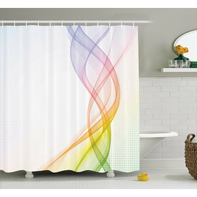 Aide Rainbow Wavy Smoke Shower Curtain Size: 69 W x 70 L