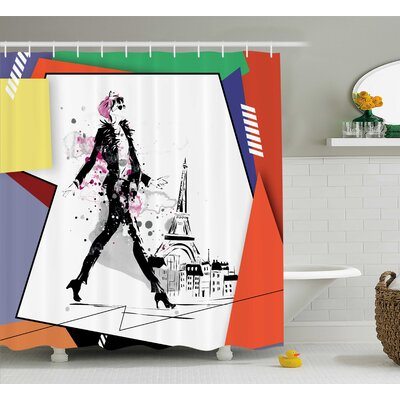 Deidra Tower Walking Girl Art Shower Curtain Size: 69 W x 75 L