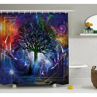 Nature Leafless Tree Hippie Shower Curtain Size: 69 W x 84 L