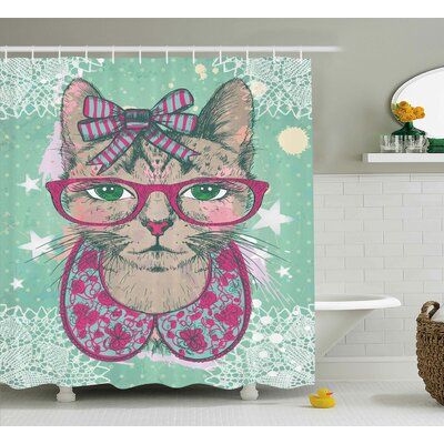 Everly Animal Fashion Hipster Shower Curtain Size: 69 W x 70 L