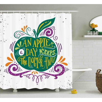 Falmouth Eat Healthy Quote Shower Curtain Size: 69 W x 84 L