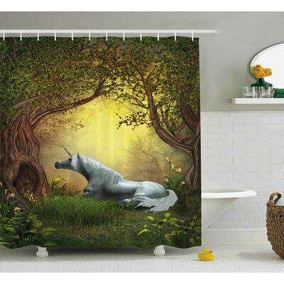 Unicorn Magical Fantasy Forest Shower Curtain Size: 69 W x 75 L