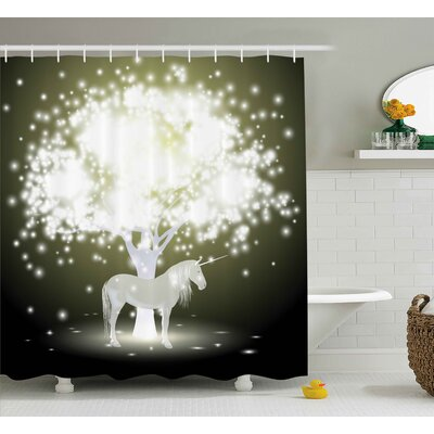 Maria Unicorn Horse with Tree Shower Curtain Size: 69 W x 84 L